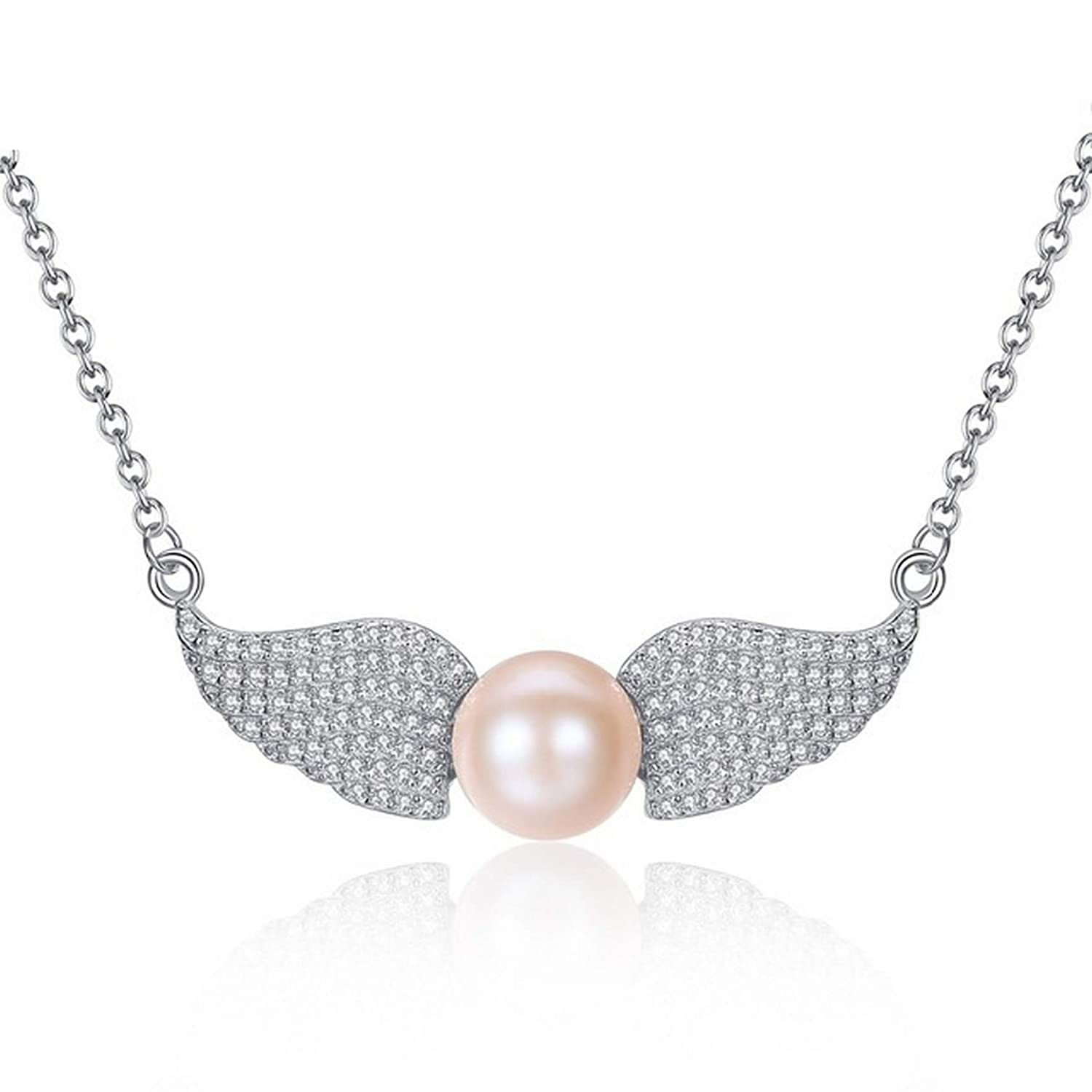 CS-DB Silver Elegant Wings Design Pearl BeadPendants Necklaces For Womens