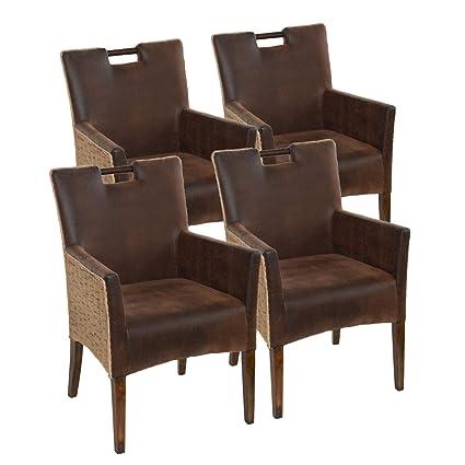 Soma Juego de 4 sillas de Comedor Bilbao, de ratán, con ...
