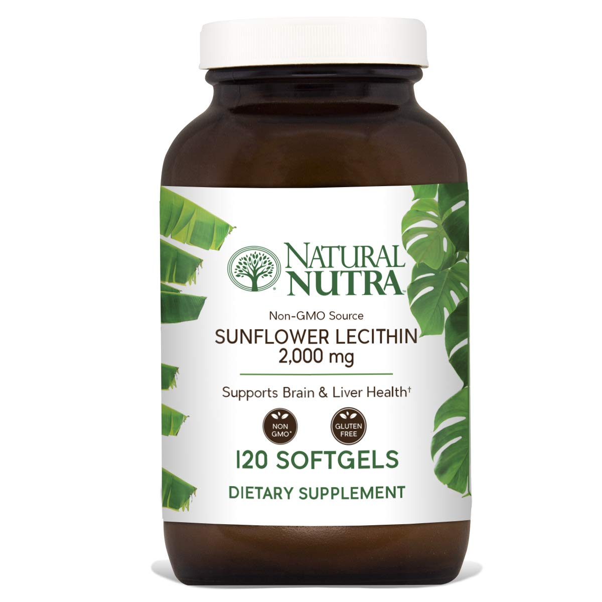 Natural Nutra Sunflower Lecithin 2000 mg, Phosphatidyl Choline, Non-GMO, Soy Free, Gluten Free, Premium Quality, Recyclable Glass Bottles, 120 Softgels by Natural Nutra