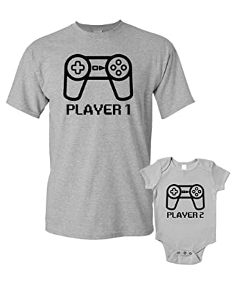 83a1ee11 Player 1 Player 2 T-Shirts Baby Grow Matching Father Child Gift Set 2 Shirts