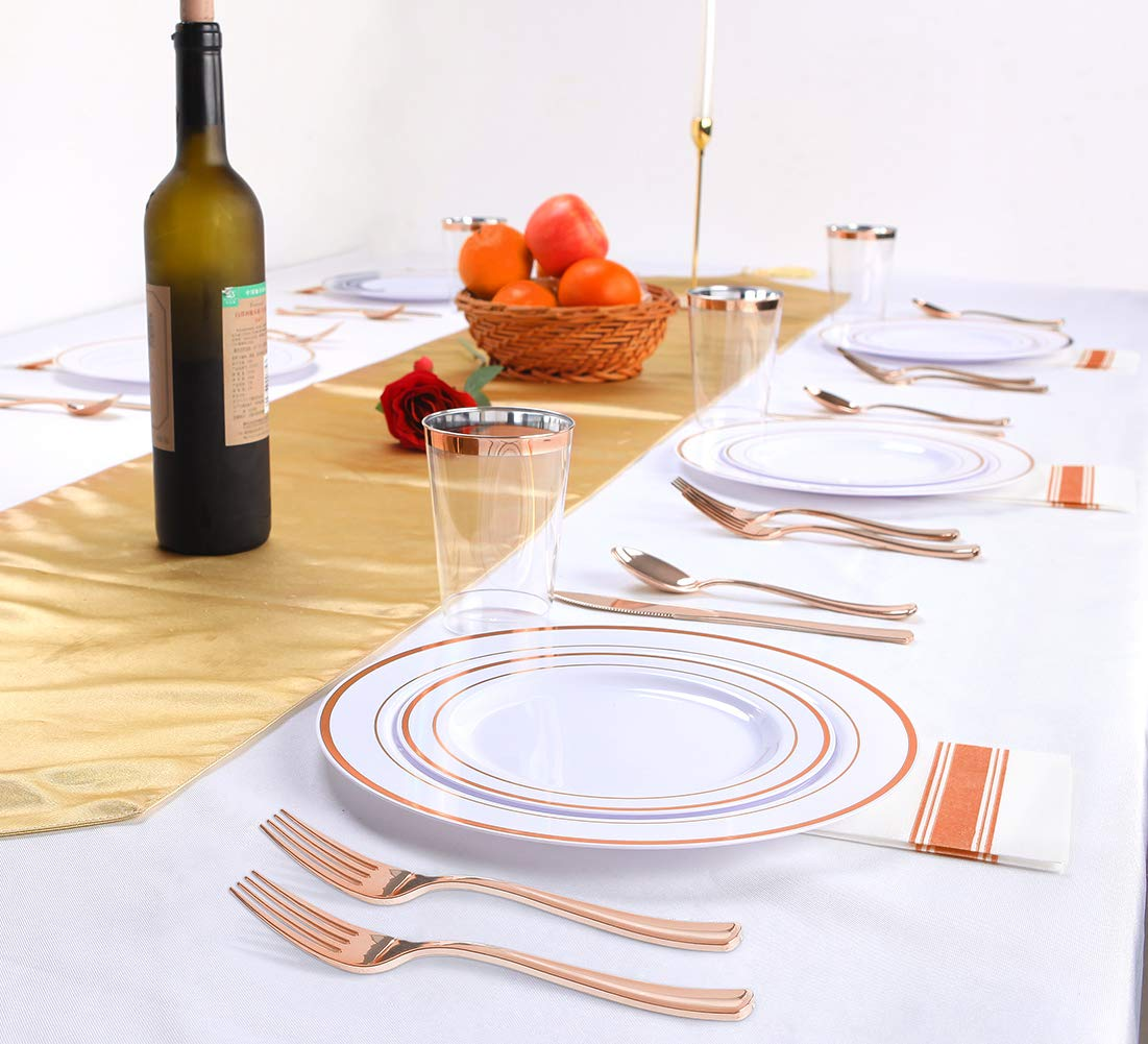 200 pieces Rose Gold Plastic Plates,Rose Gold Silverware, Rose Gold Cups, Linen Like Paper Napkins, Rose Gold Disposable Flatware, Enjoylife (Rose Gold, 200) by enjoylife (Image #5)
