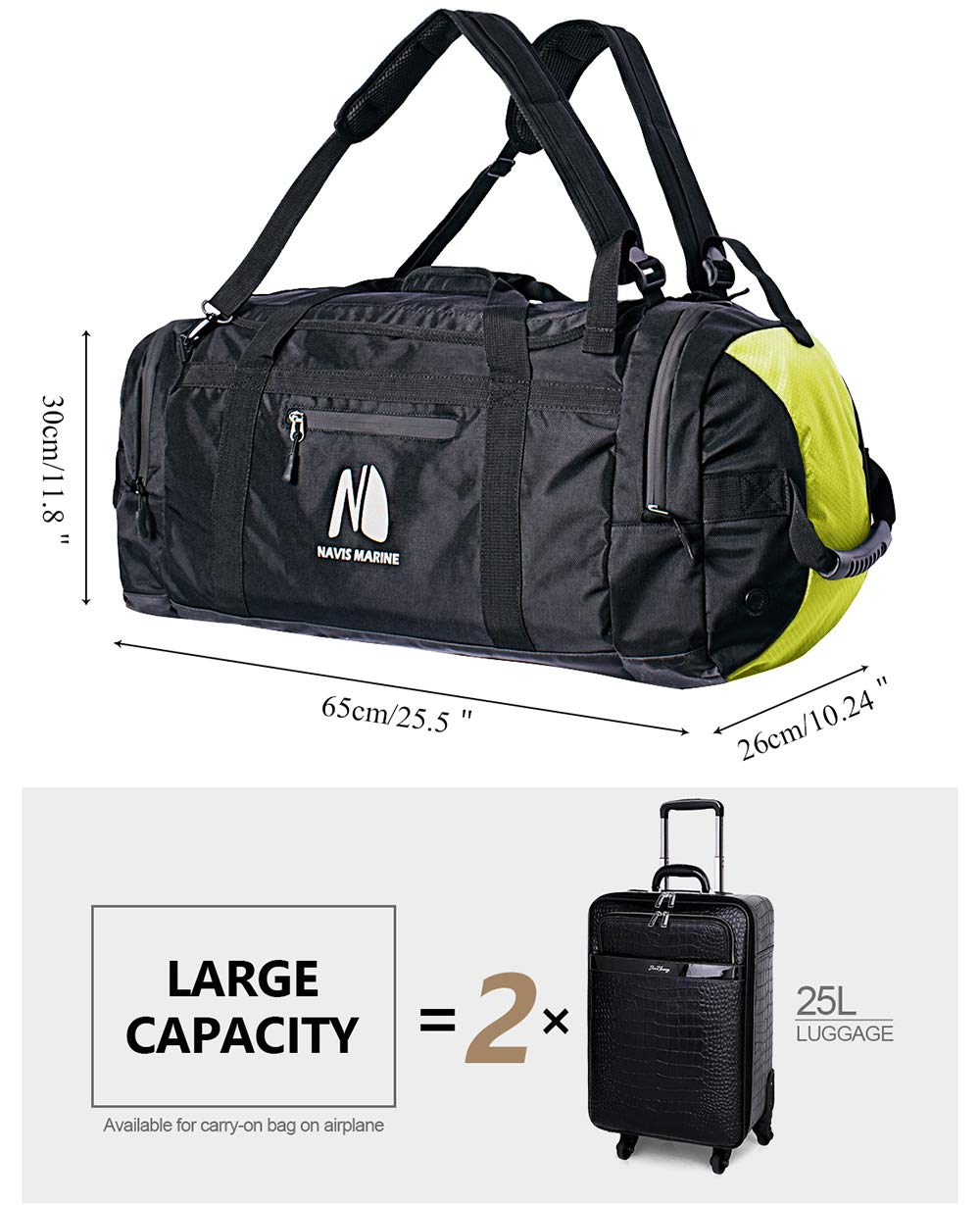 06870344dc44a2 Amazon.com: Duffel Dry Bags Waterproof for Sailing Backpack Boating Luggage  Team Bag 50-litres (Black/Fluorescent): Clothing