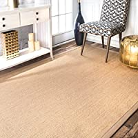 Natural Fiber Cotton Border Sisal Herringbone Beige Area Rugs, 8 Feet by 10 Feet (8 x 10)