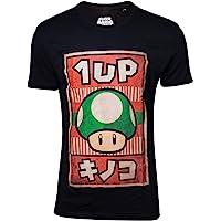 Super Mario Propaganda 1-Up Mushroom Camiseta Negro M