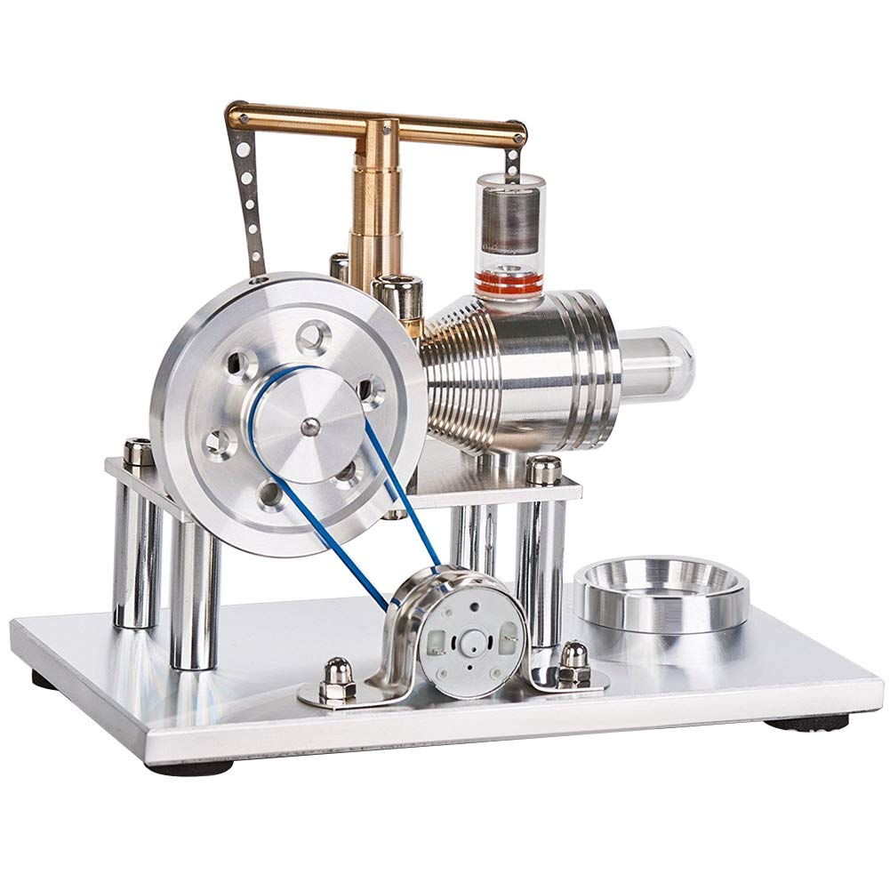 ClifcragrocL Motore Stirling con Generatore,Giocattolo del Giocattolo educativo dell'elettricità del Modello del Motore del Motore di Stirling della Lega dell'Aria