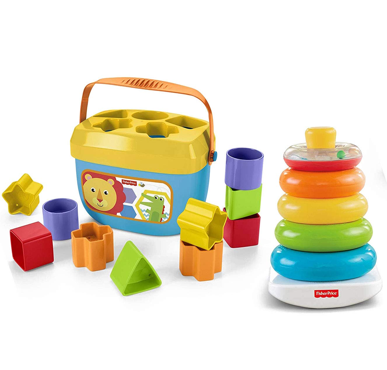 Fisher-Price Baby's First Blocks and Baby's Rock-a-Stack Bundle [Amazon Exclusive] (Deluxe - Bundle Pack)