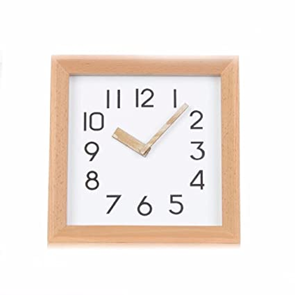 WAWZJ-wall clock Log Clock Simple Fashion Mute Native Pine Creative Personality Korean Square Clock
