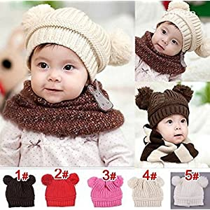 Hot Sale! Trendy Winter Baby Beanie Hat Cap Warm Cute Kids Boys Girls Toddler Knitted (Size: 18cm wide, 17cm high, Red)