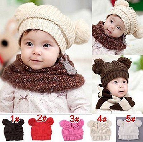 Hot Sale! Trendy Winter Baby Beanie Hat Cap Warm Cute Kids Boys Girls Toddler Knitted (Size: 18cm wide, 17cm high, Pink) (Car Seat Covers Monster High)