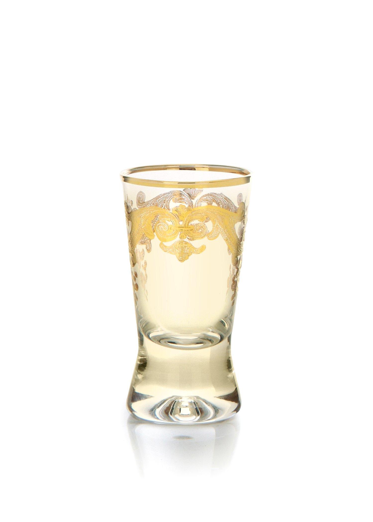 Set 6 Amber Crystal Liqueur Glasses W Rich 24k Gold Artwork 2.75''h X 1.25''w