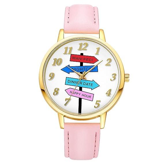 Alegría colorido Road Sign relojes para las mujeres las niñas analógico cuarzo árabe números G455: Amazon.es: Relojes