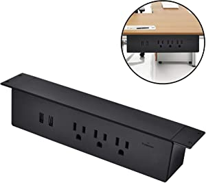 BTU Power Strips Hang on Clamp Mount Desktop Sockets 3 USA Power 2 USB Charger Outlet Surge Protector Power Strips 6ft Cord Home Office Public Desk Plastic Easy Install Hanging Desk