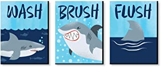 product image for Big Dot of Happiness Shark Zone - Kids Bathroom Rules Wall Art - 7.5 x 10 inches - Set of 3 Signs - Wash, Brush, Flush