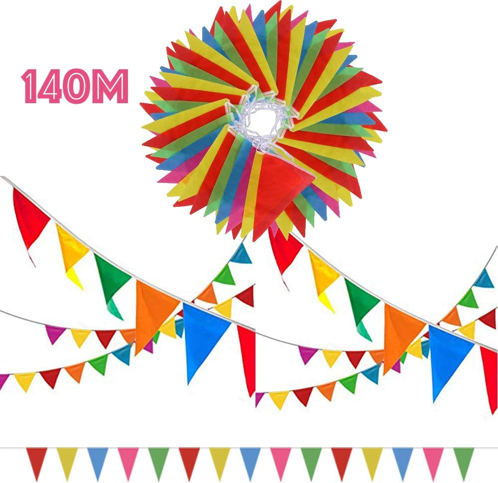 SERWOO 140m/290pcs Guirnaldas Banderas Banderines Fiesta Colores Triángulo Bunting Colgantes Decoración Cumpleaños Boda Celebracion Bienvenida Navidad Víspera Bar Adornos, 140m Total, 17 * 28cm: Amazon.es: Juguetes y juegos