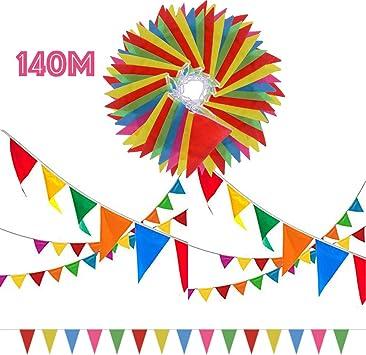 SERWOO 140m/290pcs Guirnaldas Banderas Banderines Fiesta Colores ...