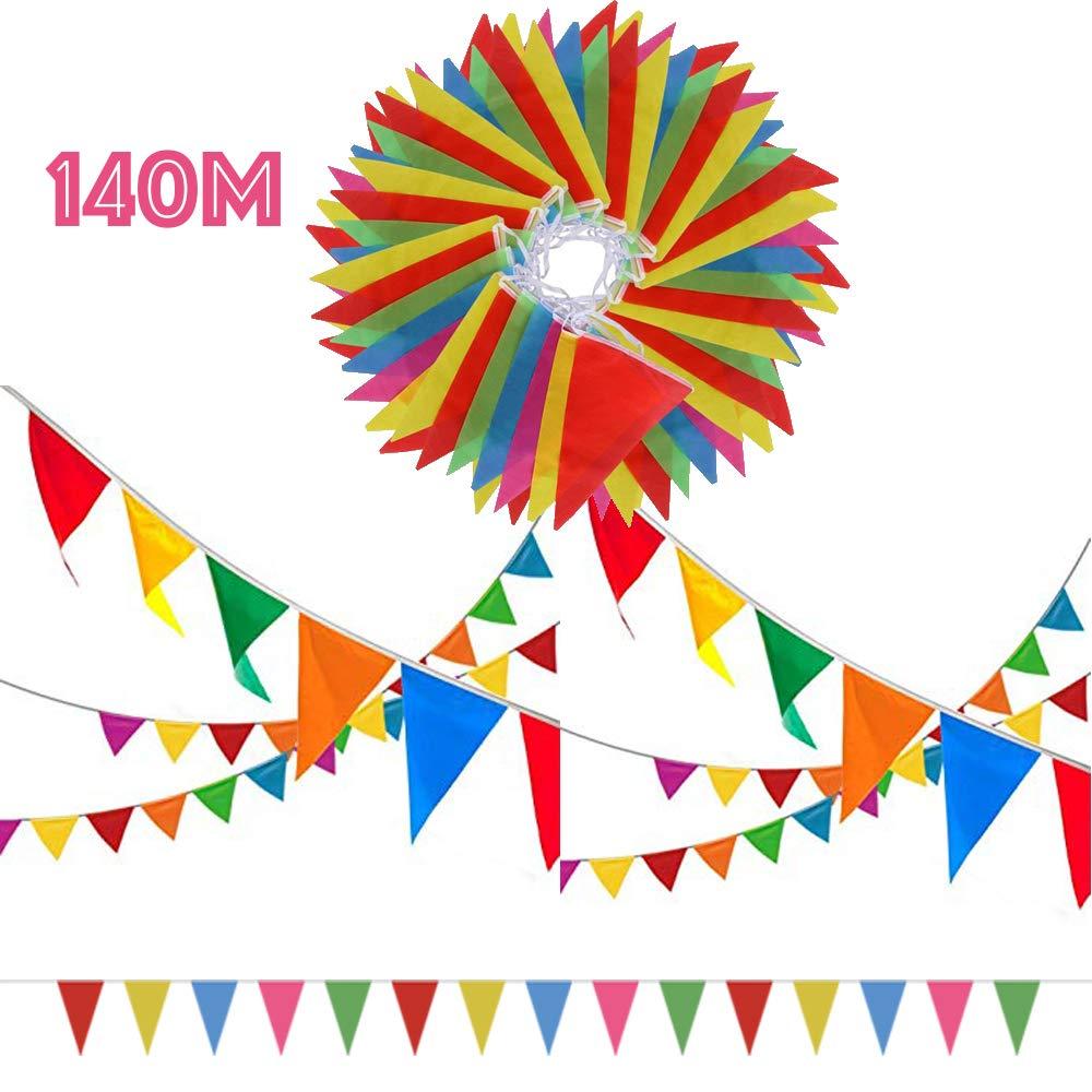 SERWOO 140m/290pcs Guirnaldas Banderas Banderines Fiesta Colores Triángulo Bunting Colgantes Decoración Cumpleaños Boda Celebracion Bienvenida Navidad ...
