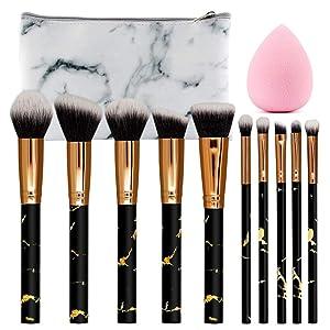 SEPROFE 10pcs Marble Makeup Brushes Set Professional Make Up Brush Kit Beauty Blender Sponge Foundation Eyeshadow Blusher Concealer Contour Highlighter Eyebrow Eyeliner Cosmetics Organizer Travel Case