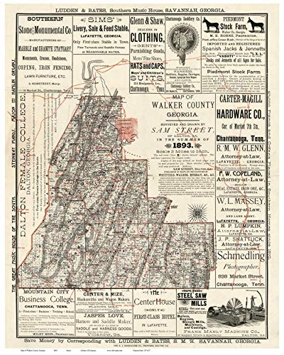 Walker County Georgia 1893 - Wall Map With Homeowner names Old Map Reprint