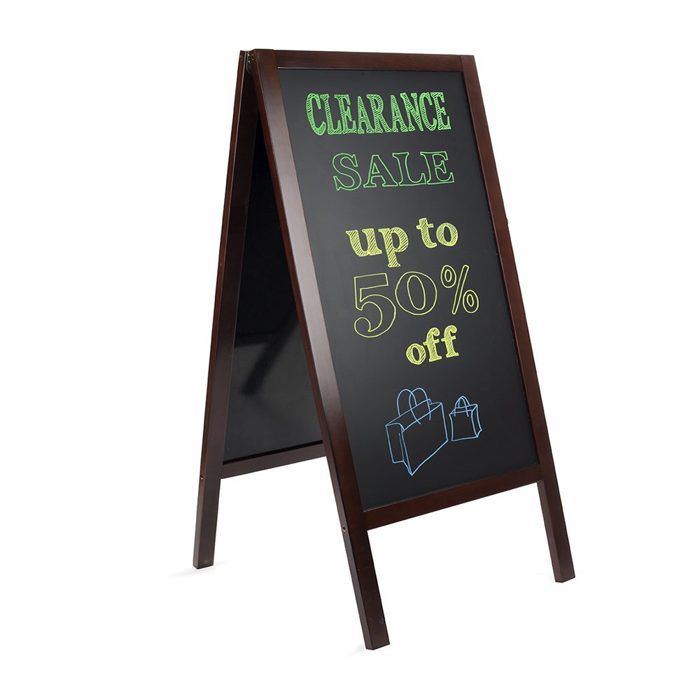 Large, heavy duty A-frame outdoor Sidewalk Chalkboard. Double sided freestanding outdoor Sandwich Board with nice Mahogany colored wood Finish. Uses regular or liquid chalk