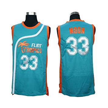 1a84022cd82 Stitched 33 Jackie Moon Flint Tropics Semi Pro Movie Basketball Jersey  (green, Large) by none: Amazon.co.uk: Sports & Outdoors