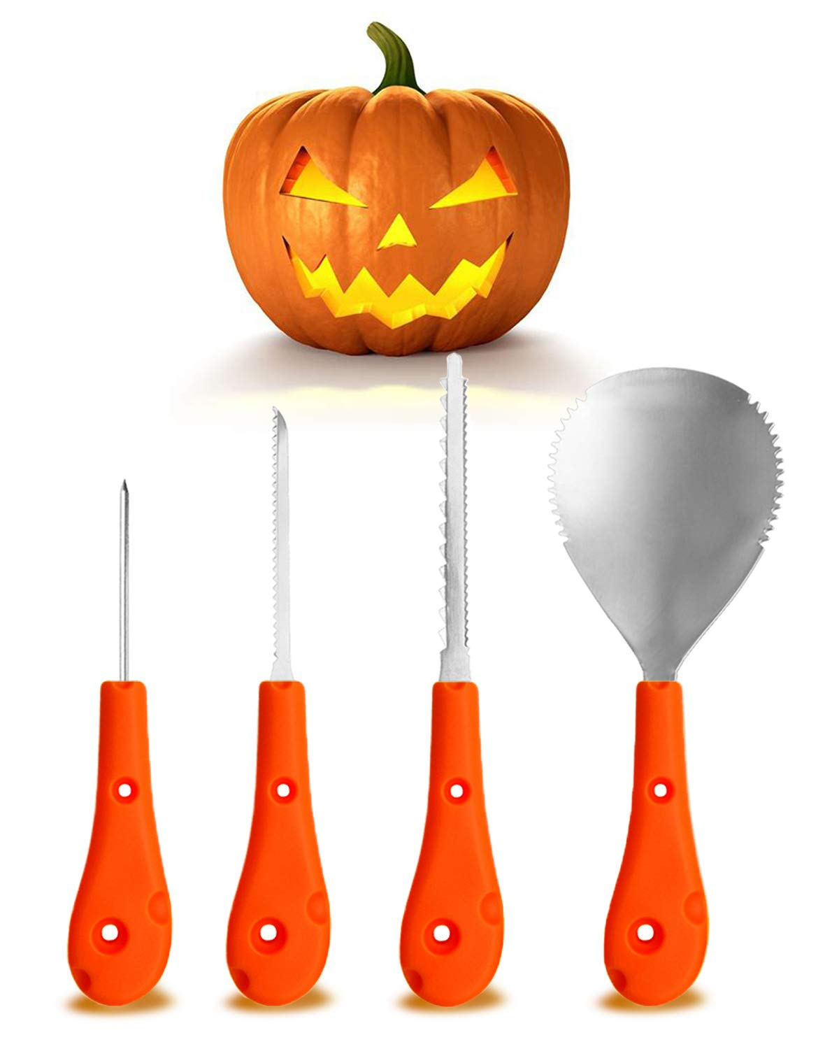 Halloween Pumpkin Carving Kit, Stainless Steel Tool Easily Carve Sculpt Halloween Jack-O-Lanterns