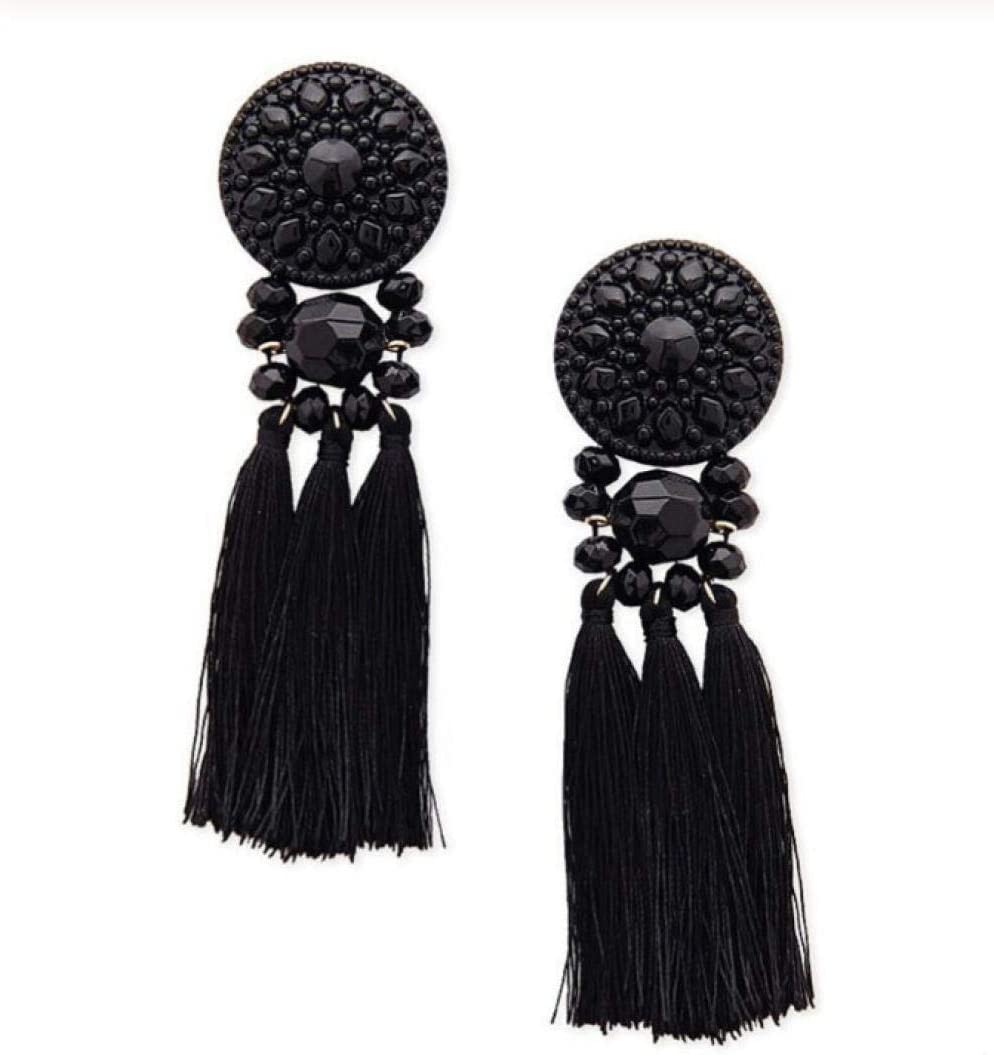 NOBRAND Pendiente étnico de borlas Negras para Mujer Pendiente de Gota de Flecos Largos Vintage con Broncos de Piedra Joyería Femenina