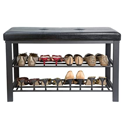 Amazoncom Upholstered Shoe Storage Entryway Bench 32 Inch New