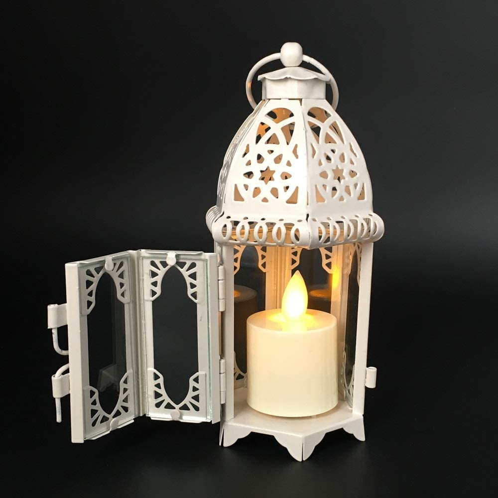 ZKZNsmart Distressed Metal Vintage Decorative Mini Lantern European Wrought Iron Windproof Glass Wind lamp, Candle Holder, Lantern Home Decoration Decoration (White, φ2.4in): Health & Personal Care
