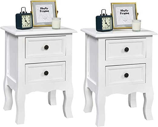 Amazon Com Nightstand Set Of 2 With 2 Drawers White Small Modern Kid S Nightstand For Bedroom Living Room Home Wood Mid Century Beside Table 13 7l X 12w X 20h Kitchen Dining