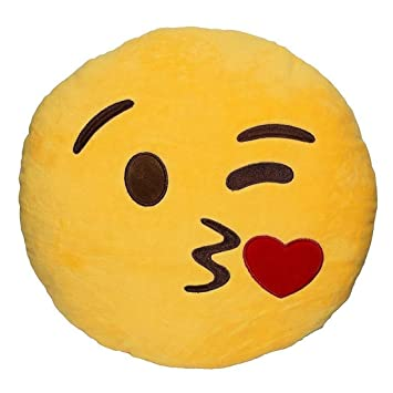 Jassi Toy Smiley Thick Plush Pillow Round Cushion Pillow Stuffed Gift for Kids Birthday Gift