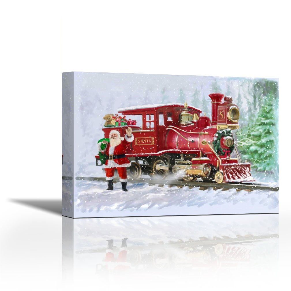 Karmakara Christmas Train Fine Art Print Wall Art On Canvas Art Print Wall Art Canvas Stretched Gallery Wrap Style Ready To Hang Image Size Is 12 X 8 Inch Amazon In