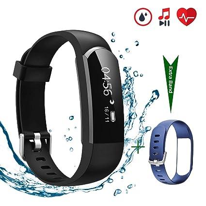 e2ccec52487e CHEREEKI Pulsera Actividad [versión Mejorada] con Control de frecuencia  cardíaca podómetro Monitor, Smartwatch Pulsera Inteligente de sueño ...