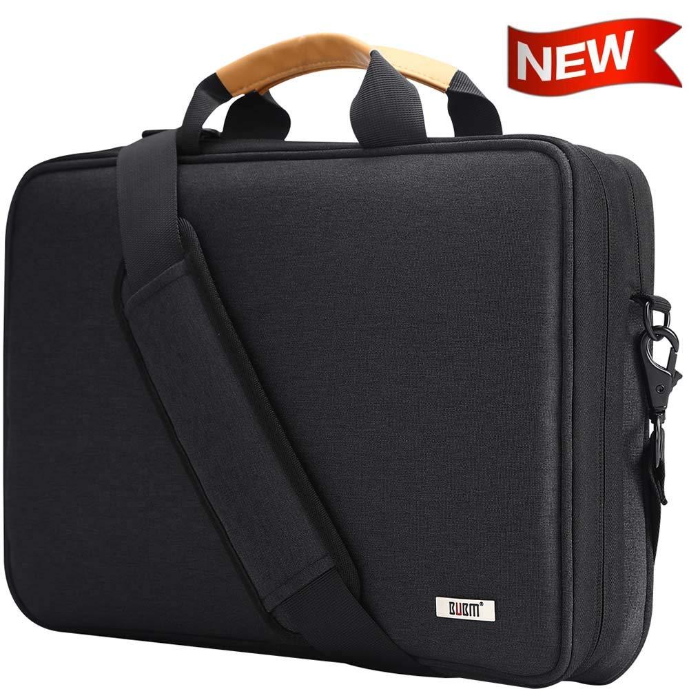 BUBM Laptop Shoulder Bag 13-14 Inch Compatible for 13.3'' MacBook Pro,MacBook Air, 13.5'' Surface Laptop Case with Multiple Organizer Pockets, Carrying Briefcase Messenger Bag(Black)
