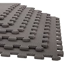 Stalwart 6 Pack Interlocking EVA Foam Floor Mats Black 24x24x0.375