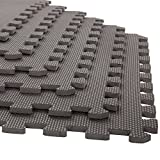 laundry room flooring Foam Mat Floor Tiles, Interlocking EVA Foam Padding by Stalwart – Soft Flooring for Exercising, Yoga, Camping, Kids, Babies, Playroom – 6 Pack, 24 x 24 x 0.375 inches, Gray