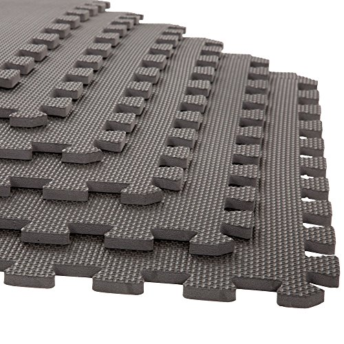 Foam Mat Floor Tiles, Interlocking EVA Foam Padding by Stalwart – Soft Flooring for Exercising, Yoga, Camping, Playroom – 6 Pack, .375 inches -