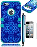 Bastex Heavy Duty Hybrid Case For Apple iPhone 5, 5S, 5G - Soft Teal Silicone Cover Surrounded by Pretty Blue Antique Paisly Design Hard Shell - Includes Screen Protector and Stylus