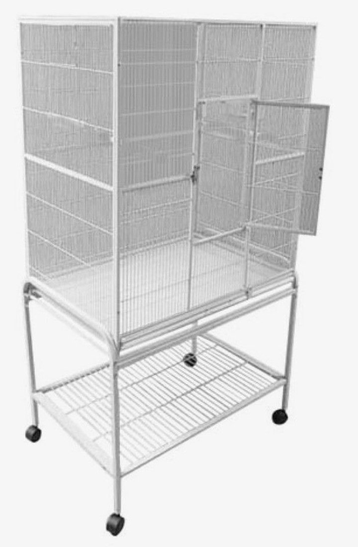 Pet Products Large Wrought Iron Flight Cage With Removable Rolling Stand Bird Cage, 32-Inch by 19-Inch by 64-Inch by Mcage