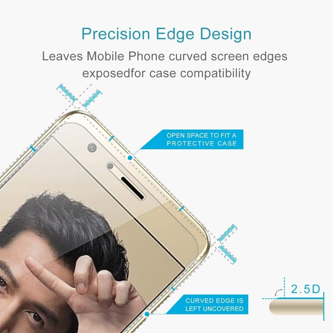 JUUANFDFINGD Cell Phones Screen Protectors 100 PCS for Huawei Y7 0.3mm 9H Surface Hardness 2.5D Explosion-Proof Non-Full Screen Tempered Glass Screen Film