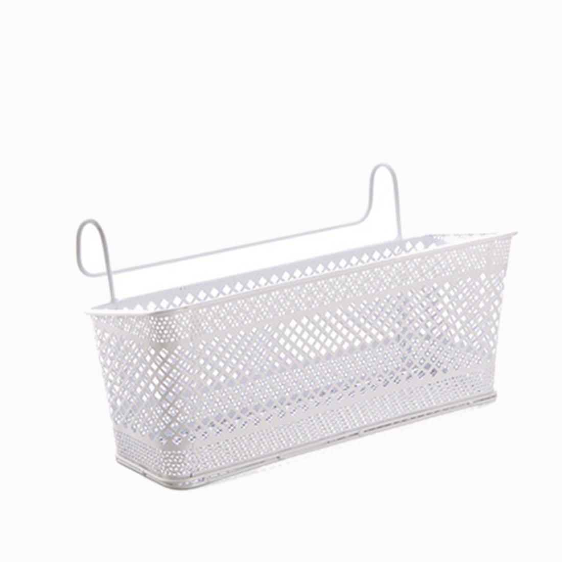 iTECHOR Storage Corner Shelf, Hanging Storage Basket Corner Containers Dormitory Bedside Desktop Corner Shelves Holder - White