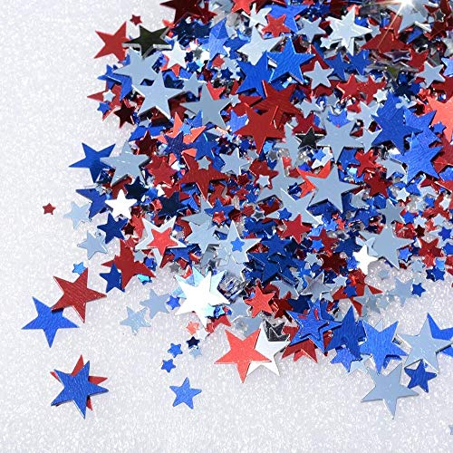 (Mefuny 150 g Metallic Star Confetti Star Table Confetti Foil Star Patriotic Confetti for 4th of July Independence Day Party Decoration, Red, Silver and Blue )