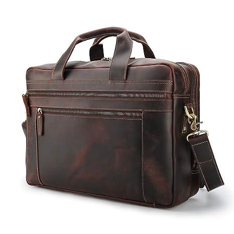 b091f47bad4 Vints Vintage Men's 17 Inch Genuine Leather Messenger Bag Laptop ...