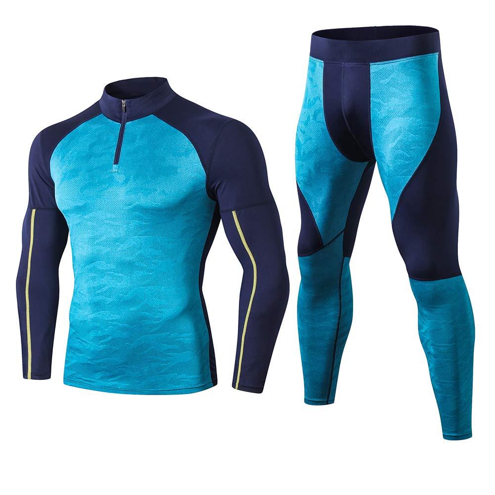 Shengwan 2pcs Herren Sportbekleidung Kompression Funktionswäsche Set Gym Fitness Laufen Bekleidung