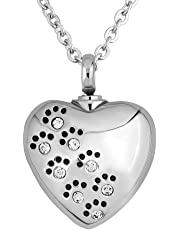 LoEnMe Jewelry Lucky Clover Love Heart Dog Birthstone Urn Necklace for Ash Crystal Cremation Keepsake