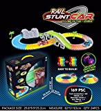Playlearn Glow In The Dark Magic Track '2 LED CARS, BRIDGE, TREES & TUNNEL' Flexible Electric Car Racetrack for Kids