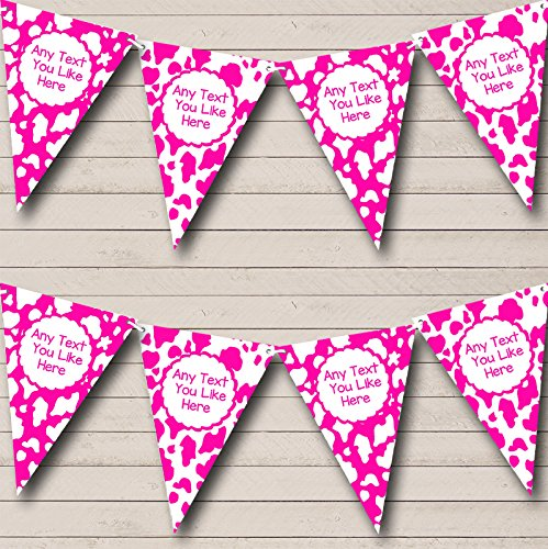 Cow Print Animal Pink And White Personalized Birthday Party Bunting Banner by The Card Zoo
