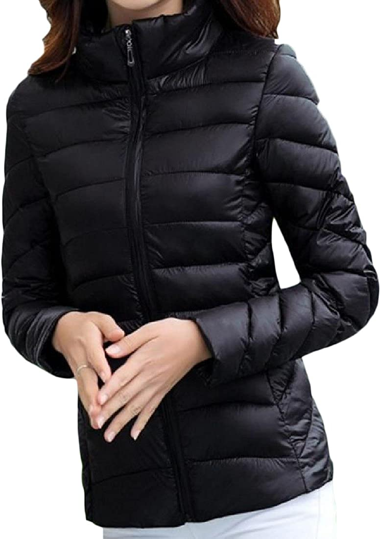 Nicelly Womens Thick Stylish Stand Collar Solid Down Coat Waistcoat Black 2XL