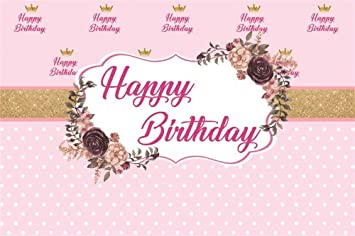 Amazon Com Baocicco Happy Birthday Backdrop 5x3ft Cartoon Pink Gold White Dot Flowers Background Gold Crown Backdrop Girl Children Baby Shower Party Decor Props Camera Photo