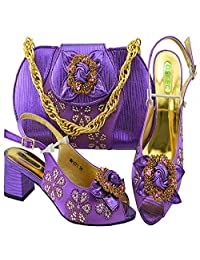 HUALI Black Color Fashion Summer Shoes and Matching Bags Italian Shoe and Bag Set for Party
