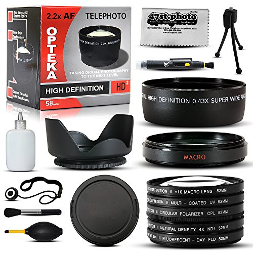 10 Piece Ultimate Lens Package For the Canon PowerShot SX40 SX50 HS SX30 SX20 SX10 SX1 Includes 67MM 0.43x High Definition II Wide Angle Panoramic Macro Fisheye Lens + 67MM 2.2x Extreme High Definition AF Telephoto Lens + 67MM Professional 3 Piece Filter Kit (UV, CPL, FLD Lens) + Flower Lens Hood + 67MM Adapter Ring + Deluxe Lens Cleaning Kit + LCD Screen Protectors + Mini Tripod + 47stphoto Microfiber Cloth Photo Print !
